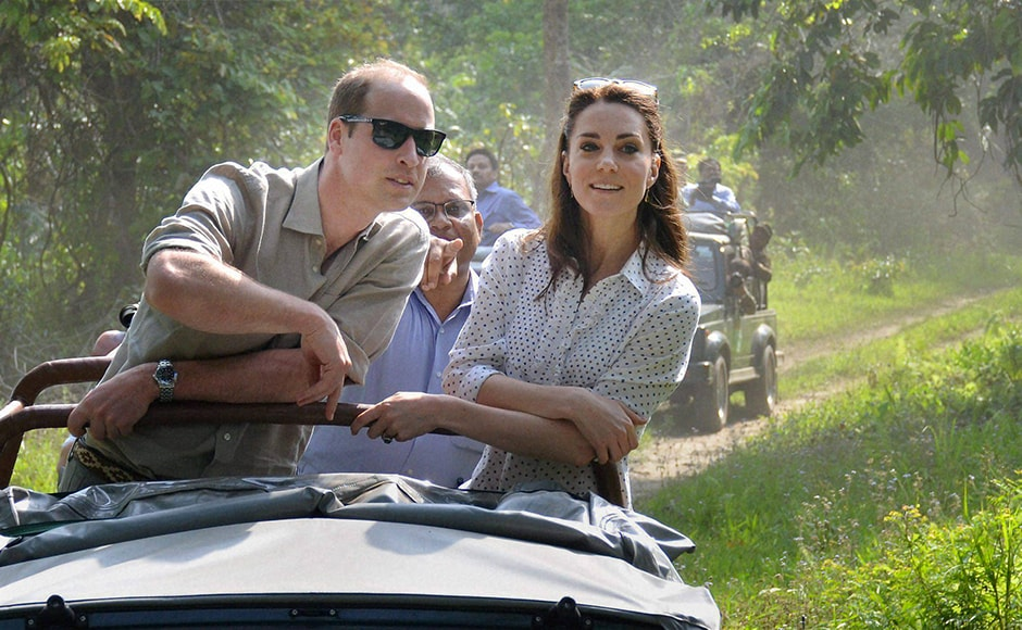 Prince William, Duke of Cambridge, and his wife Catherine (Kate) Middleton, Duchess of Cambridge, on a safari in Kaziranga National Park, Assam on Wednesday. PTI Photo