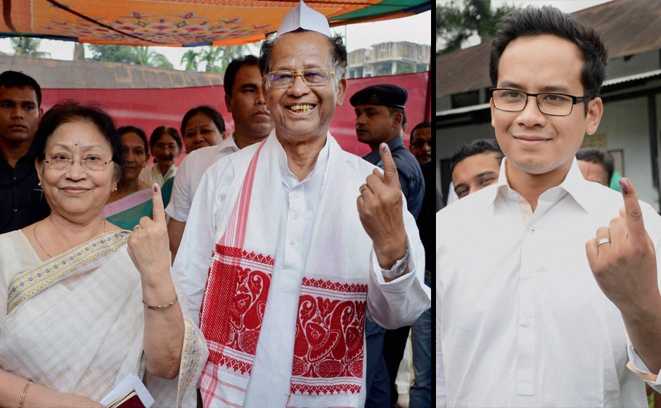 Assam Chief Minister Tarun Gogoi with his wife Dolly Gogoi (left) and the CM's son and Congress MP from Kaliabor Lok Sabha Constituency Gaurav Gogoi after casting their votes for the first phase of Assam Assembly election at Jorhat district of Assam on Monday. PTI