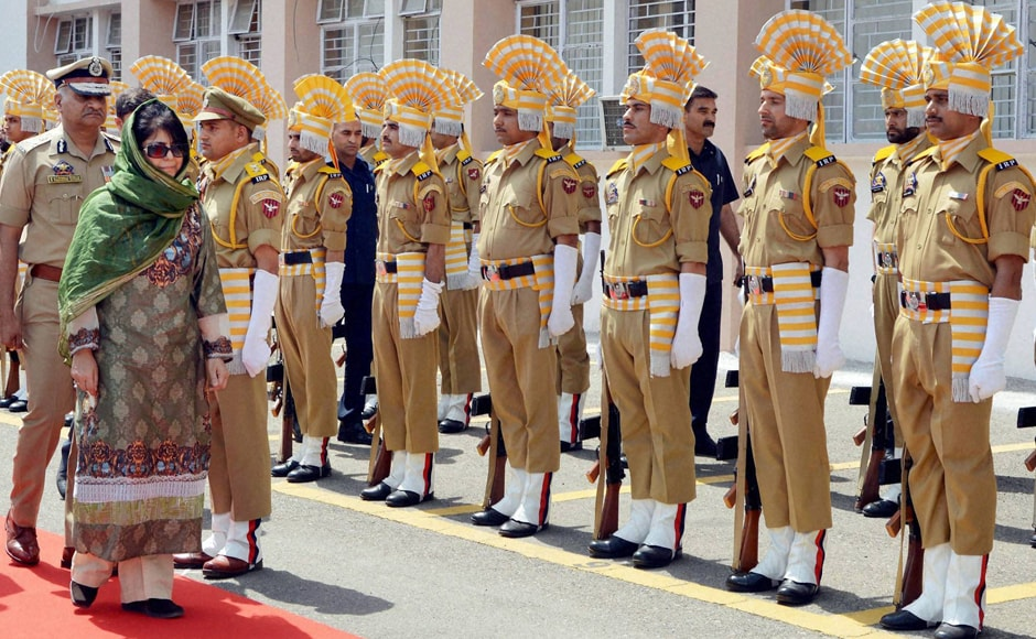 Jammu and Kashmir new Chief Minister Mehbooba Mufti accorded traditional Guard of Honour at civil secretariat in Jammu. PTI