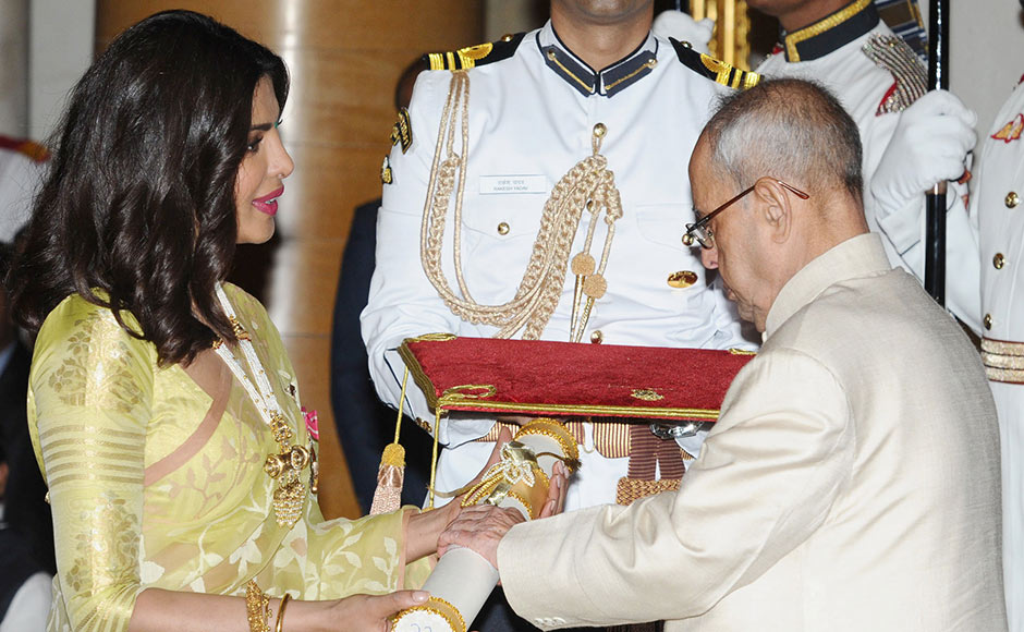 After having won international acclaim for her role in 'Quantico', actor Priyanka Chopra was awarded the Padma Shri, India's fourth highest civilian honour. The actor recently won a role in the Hollywood film 'Baywatch', alongside Dwayne Johnson and Zac Efron. Image courtesy: PIB
