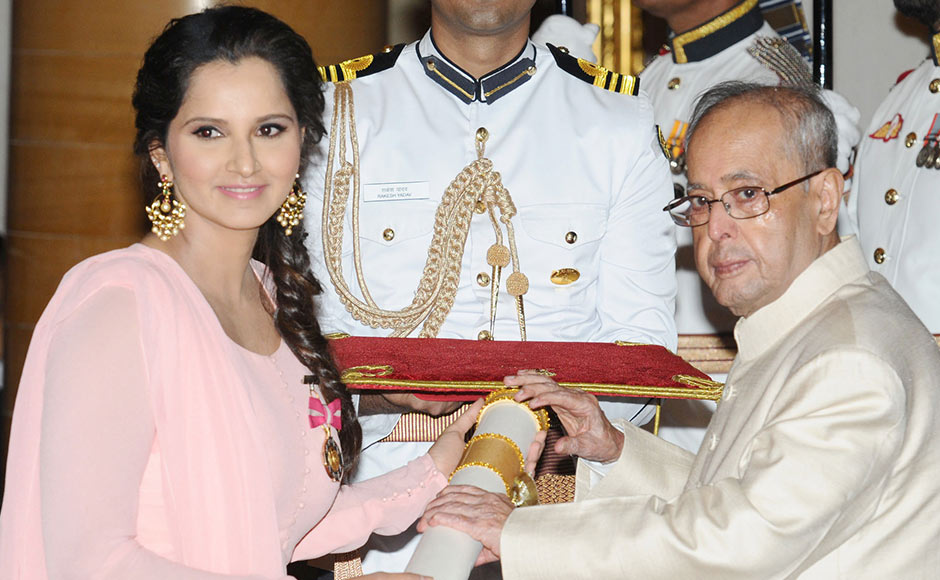 After a great year where Sania Mirza and her partner Martina Hingis soared to a 41-match winning streak which finally came to an end with a shock defeat at the quarter-finals of the Qatar Open earlier this year, Mirza received the Padma Bhushan, India's third highest civilian honour. Image courtesy: PIB
