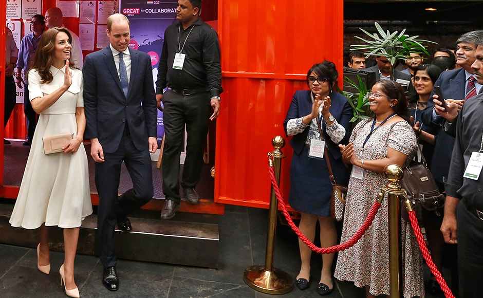 The day 2 of Prince William and Kate's week-long visit in India started with the Young Entrepreneurs Event in Mumbai. The Duke and the Duchess of Cambridge cut a dashing figure with Kate in an understated Emilia Wickstead Wool Crepre dress with a fitted bodice and a full sweeping skirt and Prince William dressed in a sharp blue suit. AFP