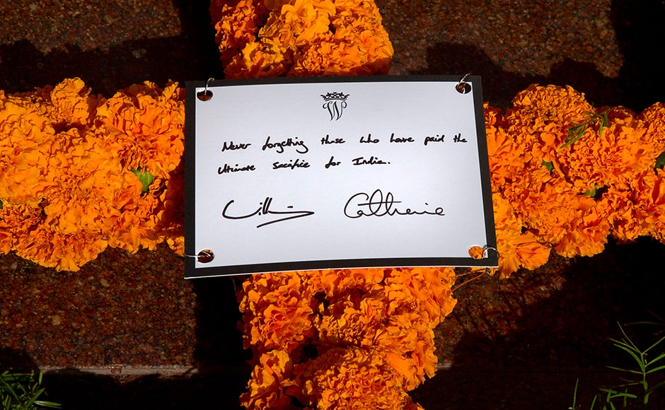 Detail on the card on a wreath laid by Williamand Kate, as they paid tribute at the India Gate war memorial, in the memory of the soldiers from Indian regiments who served in World War I, in New Delhi. AFP