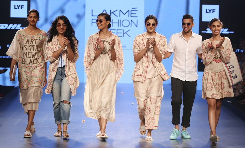 Quirkbox's Jayesh Sachdev and Rixi Bhatia with their models at the Lakme Fashion Week Summer/Resort 2016