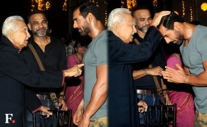 Ramesh Deo meets with John Abraham.<br />Image by Sachin Gokhale/Firstpost