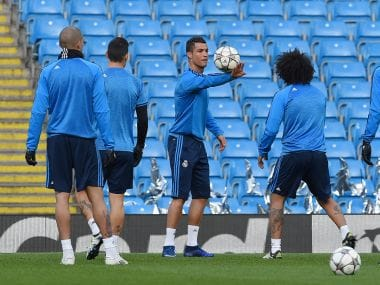 Real Madrid players train ahead of Champions League clash with Manchester City. AFP