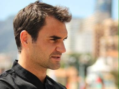 Roger Federer doing interviews ahead of the Monte Carlo Masters. Image courtesy: Twitter/@MarianneBevis