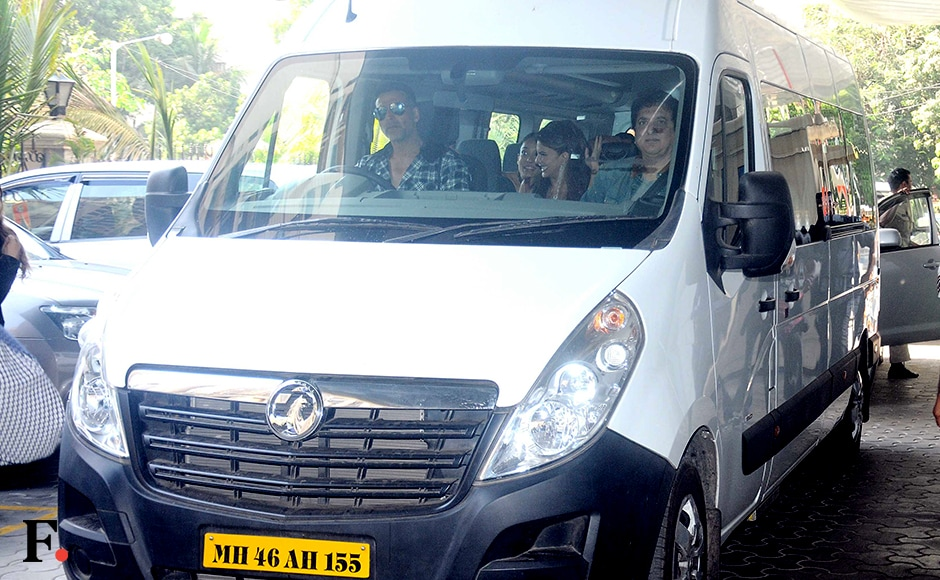 Cast of 'Housefull 3' arrive for the trailer launch in a mini van with producer Sajid Nadiadwala. Sachin Gokhale/Firstpost