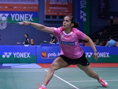 Defending champion Saina Nehwal in action at the Indian Open. PTI
