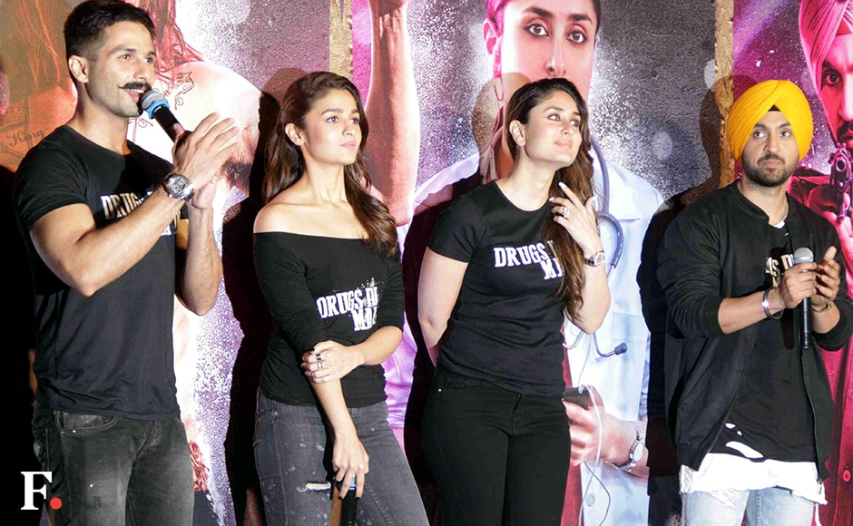 Both Alia Bhatt and Kareena Kapoor will be seen in deglamorous roles. Alia plays a migrant Bihari labourer while Kareena essays the role of a doctor determined to stop drug usage. Shahid Kapoor plays a high-on-drugs, long haired rockstar Tommy Singh, who sings with glee and abuses with impunity. Dosanjh, a singer, plays a police officer in the film. Sachin Gokhale/Firstpost