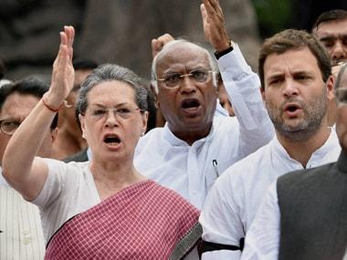 A file photo of Congress leaders Sonia Gandhi, Rahul Gandhi and Mallikarjun Kharge. PTI