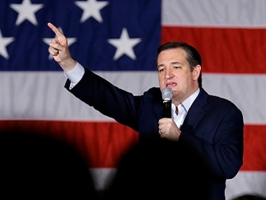 Republican presidential candidate Ted Cruz speaks at a campaign stop on Monday. AP