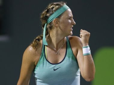 Victoria Azarenka reacts after winning the first set against Angelique Kerber during the Miami Open. AP