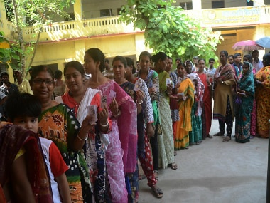Voters at a polling booth in Barasat on the outskirts of Kolkata on Monday. Reuters