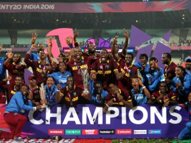 West Indian cricketers celebrate after their victory. Solaris images