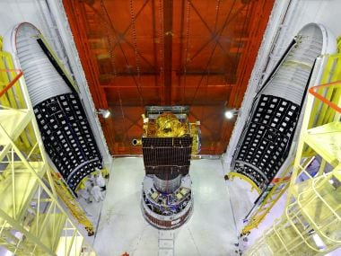 IRNSS-1G spacecraft integrated with PSLV-C33 with two halves of the heat shields. Photo courtesy: Isro
