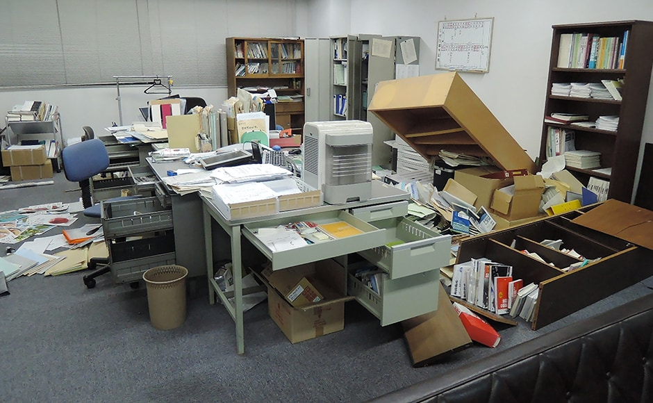 This picture shows an office following the earthquake. One aftershock measuring 5.7 struck about 40 minutes later, according to Japan's Meteorological Agency. AFP