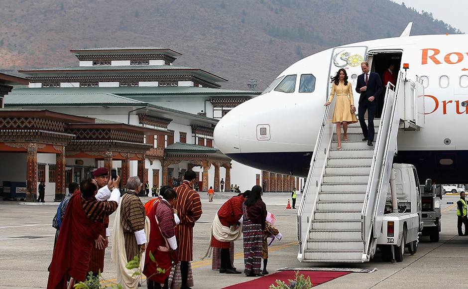 The Duke and Duchess of Cambridge arrive into Paro International Airport for the first day of a two day visit to Bhutan. The Royal couplpe are visiting Bhutan as part of a week long visit to India and Bhutan that has taken in cities such as Mumbai, Delhi, Kaziranga, Bhutan and Agra. Getty