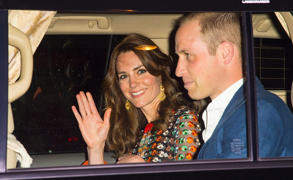 Catherine, Duchess of Cambridge and Prince William, Duke of Cambridge leave the Taj Tashi hotel to attend a dinner with King Jigme Khesar Namgyel Wangchuck and Queen Jetsun Pema on day five of the royal tour to India and Bhutan. Getty