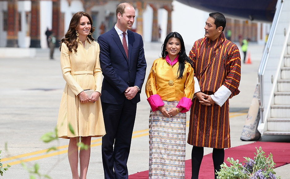 The Duke and Duchess of Cambridge pose with Princess Chimi Yangzom Wanchuck and Prince Dasho Ugyen Jigme Wangchuck as they arrive into Paro International Airport for the first day of a two day visit to Bhutan. Getty