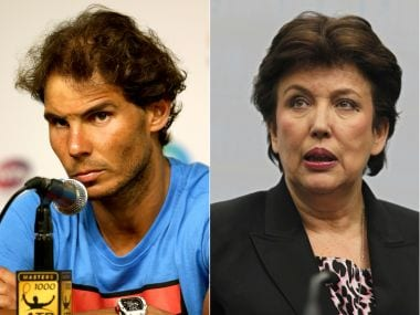 Combination photo of Rafael Nadal and France's then Solidarity and Social Cohesion Minister Roselyne Bachelot. AFP