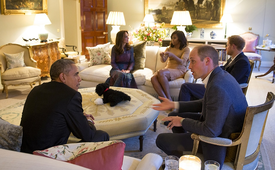 US President Barack Obama and first lady Michelle Obama visit Kensington Palace for dinner with Britain's Prince William, his wife Catherine, Duchess of Cambridge, and Prince Harry in London. Reuters