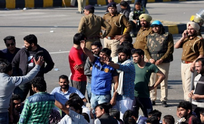 Jat protestors in Panchukla in February. Image from AFP