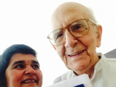 Spanish Father Gussi Frederick Sopena with Ms Patil Peoples Global Climate Ambassador of India. Twitter @ Vaishali Patil