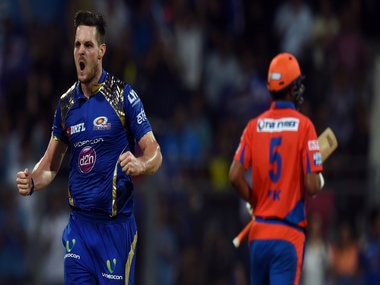 Mumbai Indians Mitchell McClenaghan celebrates after taking a wicket. AFP