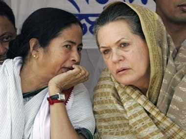 File photo of Mamata Banerjee and Sonia Gandhi. AFP