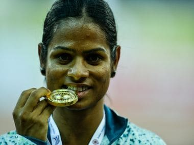 Dutee Chand with her gold medal. AFP