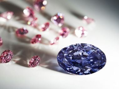 A rare violet uncut diammond discovered in August 2015 at Australia's remote Argyle mine. AFP