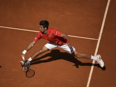 Novak Djokovic in action on clay. AFP