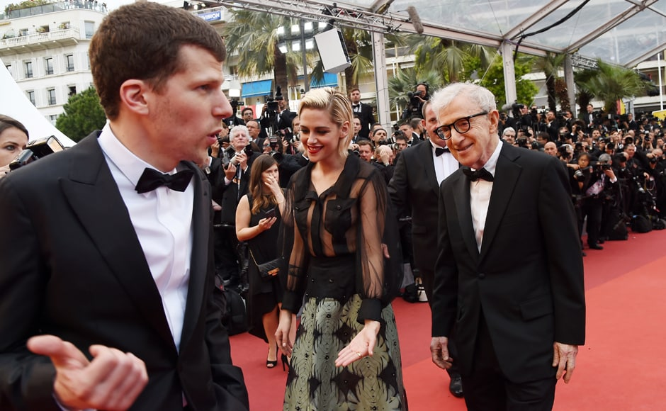 Woody Allen with Jesse Eisenberg and Kristen Stewart for the screening of the film <em>Cafe Society.</em>AFP Image.
