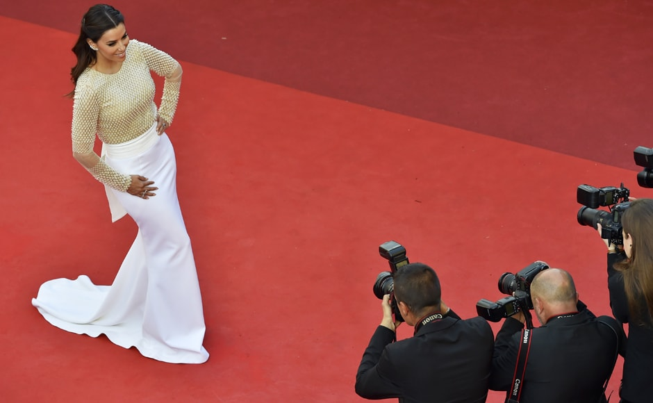 US actress Eva Longoria arrives for the opening ceremony of the 69th Cannes Film Festival in Cannes. AFP image.