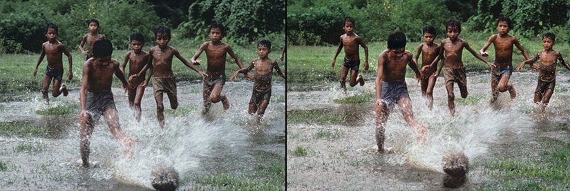 Left: Original photo of boys playing football in Bangladesh; Right: Photoshopped version.  Image Courtesy: PetaPixel.com