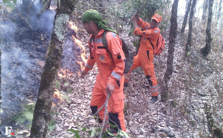 The fire has spread to 13 districts and has claimed six lives as of now. Image courtesy: NDRF