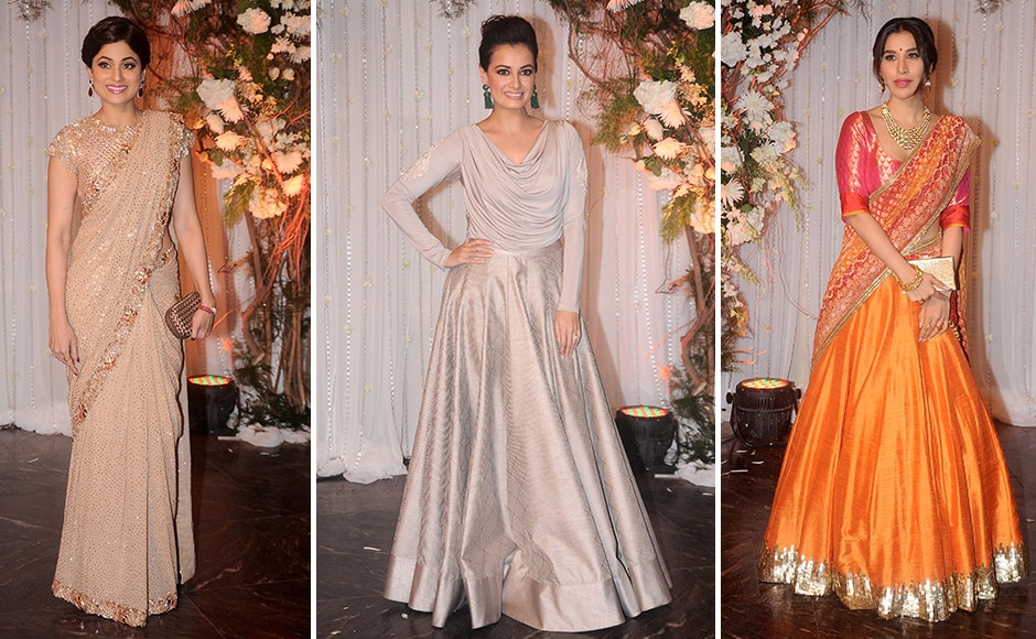 Shamita Shetty, Dia Mirza, and Sophie Chaudhary posed for the cameras. Sachin Gokhale/ Firstpost