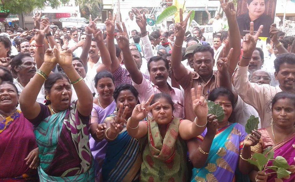 As the early trends projected an advantage for AIADMK, ecstatic workers began flocking the party headquarters and supremo Jayalalithaa's residence in the city, gearing up for celebrations. Firstpost