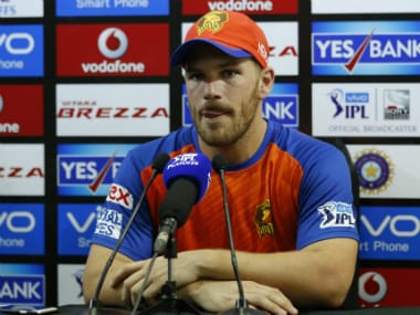 Aaron Finch at the post-match press conference after the second qualifier match between Gujarat Lions and Sunrisers Hyderabad. Sportzpics/IPL