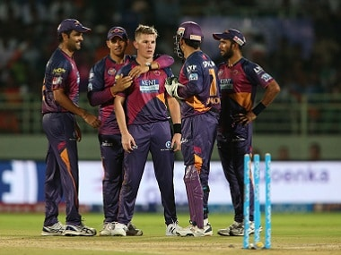 Rising Pune Supergiants players congratulate Adam Zampa after taking a wicket. BCCI