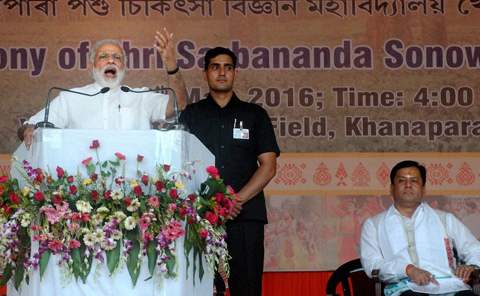 Addressing the huge gathering at the Veterinary College Ground in Guwahati's Khanapara, PM Modi said Assam is an important centre for development in all of northeast. Starting his speech in Assamese, the PM hailed the newly-elected Sonowal as a soft-spoken and a development-driven leader. PTI