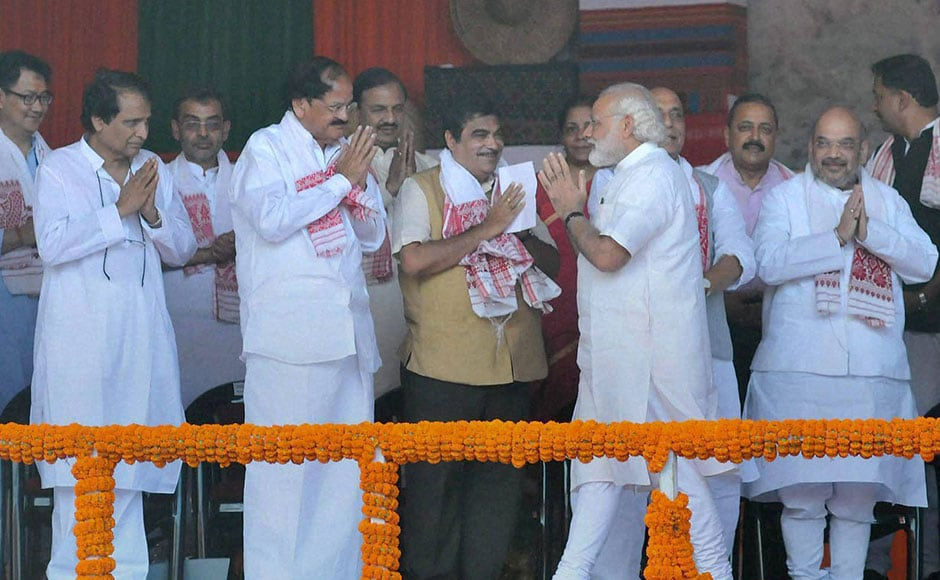 Sonowal's swearing-in ceremony was nothing short of a grand event. Starting from all BJP bigwigs, including veteran LK Advani, PMNarendra Modi, Union Home Minister Rajnath Singh and party chief Amit Shah, all the chief ministers from NDA-ruled states were present at the event. PTI