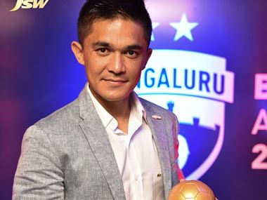 Sunil Chhetri at the Bengaluru FC's annual award ceremony in Bengaluru on Friday. Image Courtesy: Bengaluru FC Twitter