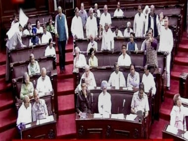 Congress members during the ongoing session in Rajya Sabha on Wednesday. PTI
