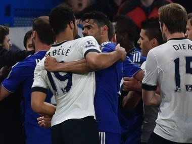 Tottenham Hotspur's Mousa Dembele and Chelsea's Diego Costa clash during their match. AFP