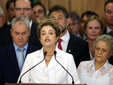 Suspended Brazilian President Dilma Rousseff speaks after the Brazilian Senate vote to impeach her. Reuters