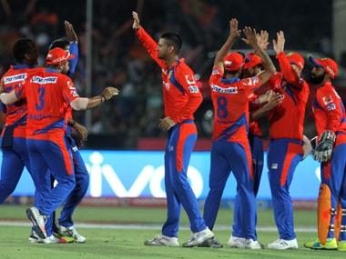 Gujarat Lions players celebrate the wicket of Mumbai Indians player Krunal Pandya. BCCI