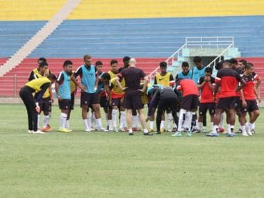 Indian football team practice ahead of their away trip to Laos. Image Courtesy: Twitter