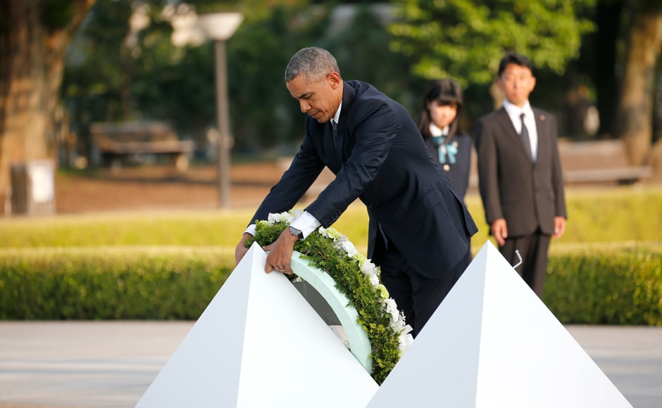 """""""Hiroshima is much more than a reminder of the terrible toll in WW-II and the death of innocents across the continents,"""" Barack Obama said as he laid a wreath at Peace Memorial Park in Hiroshima on Friday. AP"""